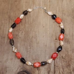 Earth Tones Chunky Glass Cabochon Stone Necklace